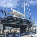 scaffold job on sailboat