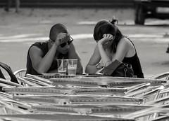 2 x 1 (alec_rain) Tags: pareja couple chico chica blanco white negro black barcelona flickr explore terraza snack bar