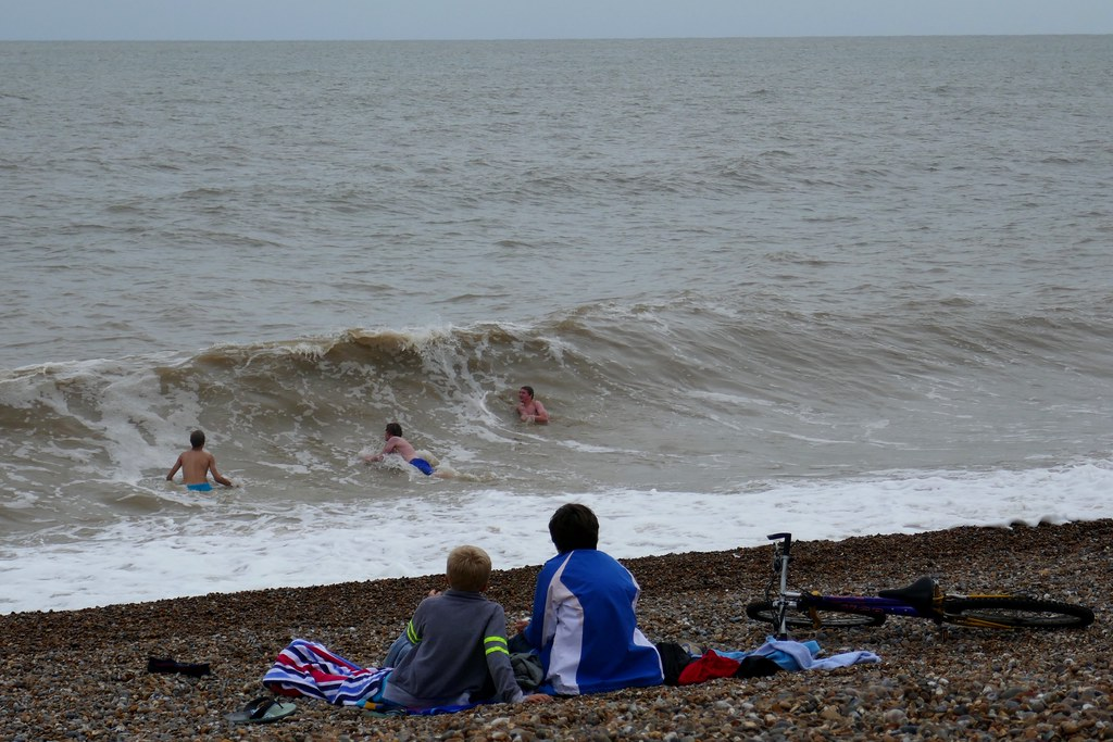 Aldeburgh swimmers on a grey August afternoon.