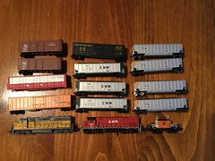 SeptemberNScaleSwap (railohio) Tags: nscale freightcar trains cnw up spfe pfe sp milw gbw c424 gp382 milwaukeeroad unionpacific louisvillenashville southernpacific pacificfruitexpress boxcar gondola reefer caboose kato foxvalleymodels atlas lifelike roundhouse deluxeinnovations redcaboose custompainted