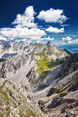 Karwendel (art180) Tags: christianmichelbach alpen art180 berge hochgebirge landschaft nordkette tirol österreich innsbruck at austria hdr mountains landscape alps tyrol blau blue grün green sky himmel clouds wolken gipfel bergkette bergkamm tal vertikal hochkant unbewohnt schroff