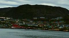 Qaqortoq Greenland (sobergeorge) Tags: msrotterdam headingtowards anchoredoff qaqortoqgreenland southerngreenland sobergeorge bysobergeorge vov2017 voyageofthevikings greenlandlandscape ipad ipadair overcast skies