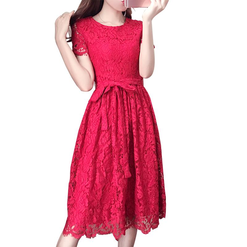 Ray seide im Sommer 2017 neUe roten rock, kleid Frauen MIT roten bauch Xian rock auf spitzen - kleid