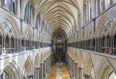 Salisbury Cathedral, from the Triforium (JackPeasePhotography) Tags: salisbury cathedral wiltshire nave triforium arches stained glass autumn september 2017 nikon d7200