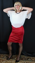 Full length (bethany_labelle) Tags: red satin pencil skirt chiffon top floaty silky transvestite