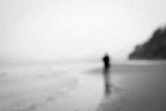dreamscaping (bluechameleon) Tags: pointgrey sharonwish wreckbeach alone beach bluechameleonphotography blur bw landscape loneliness man melancholic moody nature ocean outoffocus water person sky sea monochrome blackandwhite