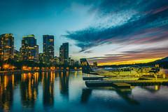 Vancouver Harbour Air (Jonathan Tasler) Tags: vancouver sunset downtown harbourair plane float harbor buildings