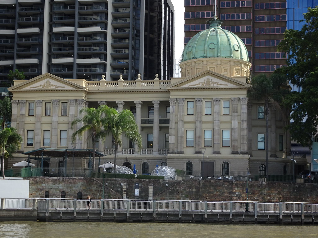 Brisbane. The old Customs House on the Brisbane River. First Customs office  here in 1848. This fine classical Customs House with copper plated dome roof was built in 1889.