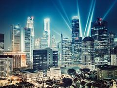 Money Never Sleeps (::: Dennis Liang :::) Tags: cityscape bluehour singapore skyline cbd
