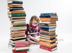 Read! (threechairs) Tags: read books learn study fiction child portrait school girl glasses student