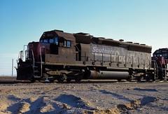 Southern Pacific 8678 at Yuma, AZ. November 15, 1996. (rolfstumpf) Tags: usa arizona yuma desert southernpacific sp8678 sd40m2 locomotive railway railroad emd roster
