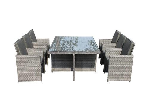 Barcelona 7 Piece Rattan Garden Cube Set in Grey