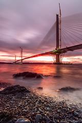 Stormy Nights [Explored] (buddsnax) Tags: queensferrycrossing northqueensferry storm sunset longexposue bridgeconstruction cablestayedbridge bridge scotland uk forth firthofforth worldrecord