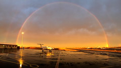 How to End a Rainy Day (Darren Schiller) Tags: rainbow sunset aviation airport dubbo aircraft rfds royalflyingdoctorservice weather rain newsouthwales australia evening kingairb200
