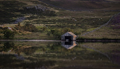 Boathouse (explored very briefly #9 5/8/17) (MarkWaidson) Tags: cregennan nationaltrust lake boat mist reflection heather house peaceful