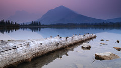Smoky sunrise over Vermilion Lakes (fred.colbourne) Tags: smoke haze vermillionlakes banffnationalpark alberta canada sunrise water lake