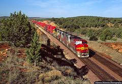 EMD GP60s in Northern Arizona (jamesbelmont) Tags: emd gp60m gp60 arizona eaglenest santafe atsf containers train locomotive railroad railway
