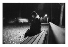 *** (Gediminas Bernotas) Tags: canoneos500n canonef2890mmf456 sereikiškiųparkas bench oldman film cinematic night park streetlight autumn leaves longexposure