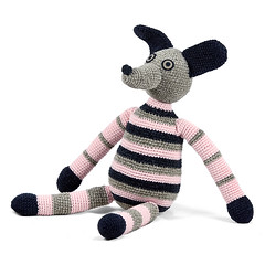 pink grey black striped crocheted dog (patti haskins) Tags: dog dogs pup critter crochet crocheted oneofakind handmade