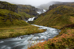 Klifbrekkufossar (Sophie Carr Photography) Tags: klifbrekkufossar waterfall easticeland mjoifjordur eastfjords rainy misty foggy river longexposure autumn autumnleaves