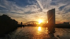European Central Bank (dermichanos) Tags: frankfurt main ecb ezb skyline sun sunset fluss river hochhaus
