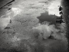 Healing~ (K.Chris ~AlwaYs LeaRning~) Tags: bw bnw blackandwhite mono monochrome monochromatic light shadow reflecting reflection water wet puddle telephonepole telegraphpost contrast exposure