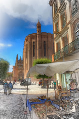 Cathedral and stall (PhilHydePhotos) Tags: albi france southoffrance bâtiments