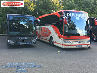 PULHAMS TRAVEL MERCEDES BENZ CITARO K99 NHS MERCEDES BENZ TOURISMO TRI AXLE MB15 ENZ SHOWBUS 2017DONINGTON 17092017