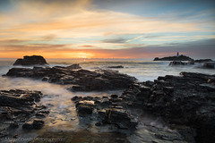 Sunset on the Rocks, Godrevy (Michael Sowerby Photography) Tags: 2017 august cornwall evening seascape sunset water coast landscape sea sundown rocks atlantic dramatic lighthouse godrevy north photography canon 5dsr 1635mm atmosphere golden light sky sun clouds
