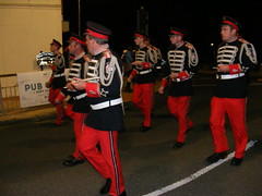 Loyalist Band Parade (night time) in Newcastle co. down September 2017 (sean and nina) Tags: loyalist protestant unionist band parade march contest procession public candid street outdoor outside uniform flags flutes drum men women male female girls boys newcastle county down northern north ireland irish night evening dark hats formation standard bearer
