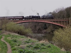 Double header over Victoria Bridge (simonjohn4) Tags: britishrailways ivatt 41312 43106 bewdley steam locomotive severnvalley railway