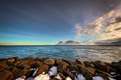 Wishing I was here again. (Dan Fleury) Tags: canon waterscape landscape wide is 14mm wideangle ocean shore rock mountain sky snow winter arctic iceland
