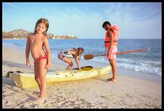 the lesson II (ukke2011) Tags: nikonf5 nikkor3514g kodakektar100 film pellicola 135 analog analogico sea mare beach spiaggia canoe canoa summer estate