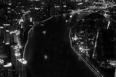 black city (Sergey S Ponomarev - very busy) Tags: sergeysponomarev canon eos 70d ef24105mmf4lisusm longexposure le landscape blackandwhite bw biancoenero city cityscape china travel journey 2017 june cantontower river pearlriver guangzhou paysage paesaggio landschaft boats buildings urban bridges night notte evening сергейпономарев город гуанчжоу китай пейзаж монохром чб путешествия ночь туризм tourism