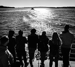 Into the light II (doubleshotblog) Tags: iphoneography lightreflections australia sydney intothelight whalewatching blackwhite people whales cruise boat sun light