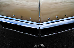 Riviera Nose (Hi-Fi Fotos) Tags: buick riviera vintage gm hood badge bumper grille chrome detail abstract american classiccar style design luxury nikon d5000 dx hififotos hallewell tan beige gold