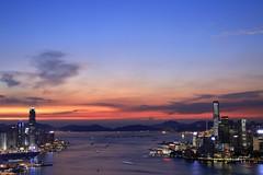 Victoria Harbor + Hong Kong Island + Kowloon (superzookeeper) Tags: hk hongkong canoneos5dmarkiv ef2470mmf28liiusm 5dmk4 5dmkiv eos braemarhill sunset night longexposure skyline city harbor victoriaharbor lighttrail lights ifc icc sky instagramhill dusk internationalfinancecenter internationalcommercecenter westkowloon central cwb causewaybay wanchai tst tsimshatsui