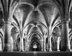 GlasgowUniCloisters (jamiegaquinn) Tags: glasgow glasgowuniversity cloisters mono bw curves architecture iplymouth