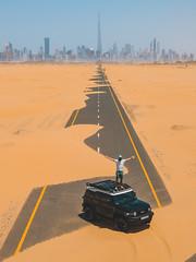 All Roads Lead Here (.:VisioNZ:.) Tags: dji mavic pro fj cruiser dubai burj khalifa dunes desert lost abandond selfie