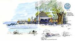 Le Zat, restaurant à Saint-Leu (Réunion) (P h i l de couleur) Tags: aquarelle encre reunion reunionisland plage sketch croquis lagoon beach watercolor restaurant