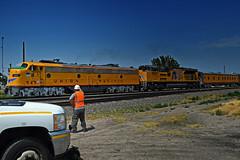 Union Pacific Nebraska 150 Express Train (Wheatking2011) Tags: union pacific nebraska 150 express pine bluff wyoming crews exchanging waves