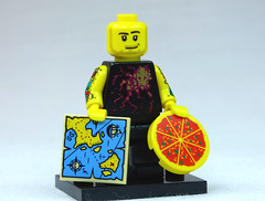 Brick Yourself Custom Lego Figure  Tattooed Guy with Map and Pizza