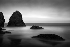 Pacific Rendezvous (StefanB) Tags: 1235mm 2016 bw california clouds coast em5 geotag horizon longexposure monochrome outdoor pacific sea seascape redrockbeach
