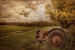 Fokker Drl Triplane & Sopwith TriplaneA (brian_stoddart) Tags: old flying aircraft tractor train countryside vintage sky clouds trees texture painterly composite tint