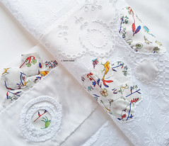 hexagons and Liberty fabric (contemporary embroidery) Tags: applique cutwork hexagons patchwork white liberty embroidery