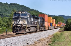 NS 223 at Collegdale, TN (KD Rail Photography) Tags: ns norfolksouthern onelineinfinitepossibilities intermodal intermodaltransportation doublestack container ge generalelectric d944cw tennessee tennesseevalley chattanooga smalltown smalltownusa collegedale trains railroads transportation summerweather summerseason morninglight diesellocomotive diesel locomotive