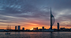 IT'S A NEW DAY..... (mark_rutley) Tags: aircraft aircraftcarrier hampshire hmsqueenelizabeth maritime naval navy portsmouth qec royalnavy sunrise dawn morning spinnakertower spinakertower silhouette