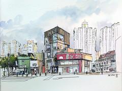 CoffeeSmith, 20170816 ,18:00, Incheon, South Korea (velt.mathieu) Tags: sketch southkorea 스케치 대한민국 croquis corée watercolor 수채화 aquarelle mathieu velt
