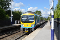 185119 heads east through Hathersage station with the 1B74 Manchester Airport to Cleethorpes, 15th Aug 2017. (Dave Wragg) Tags: 185119 class185 tpe firsttranspennineexpress 1b74 hathersage hopevalleyline dmu railcar railway
