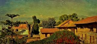 NEPAL , Bhaktapur, Tempel , Pagoden usw. - Blick Richtung Himalaya (Textur) Auf Wiedersehen schönes NEPAL, 16513/8844